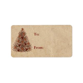 Primitive Christmas Tree Gift Label