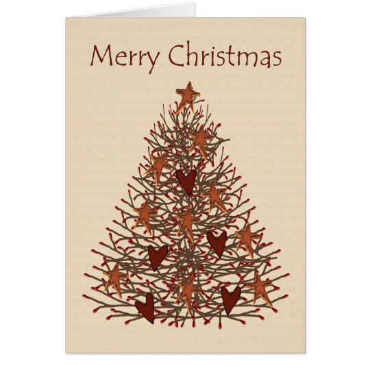Primitive Christmas Tree Low Vision Card