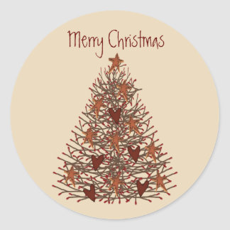 Primitive Christmas Tree Sticker