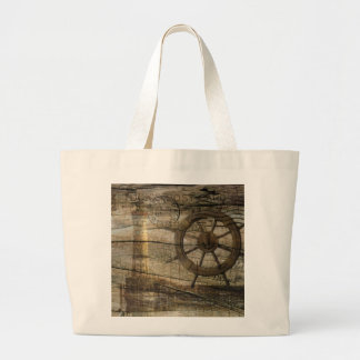 Primitive Coastal Nautical Helm Wheel lighthouse Large Tote Bag