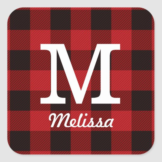 Primitive Cottage Red buffalo Plaid lumberjack Square Sticker