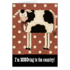 Primitive Country Cow Single Lady Moving Notice Card