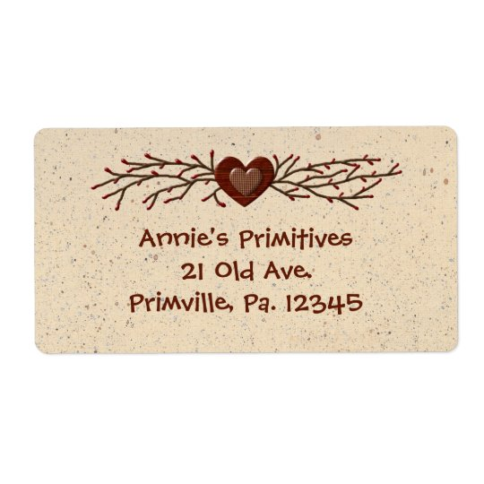 Primitive Country Heart Business Label Shipping Label