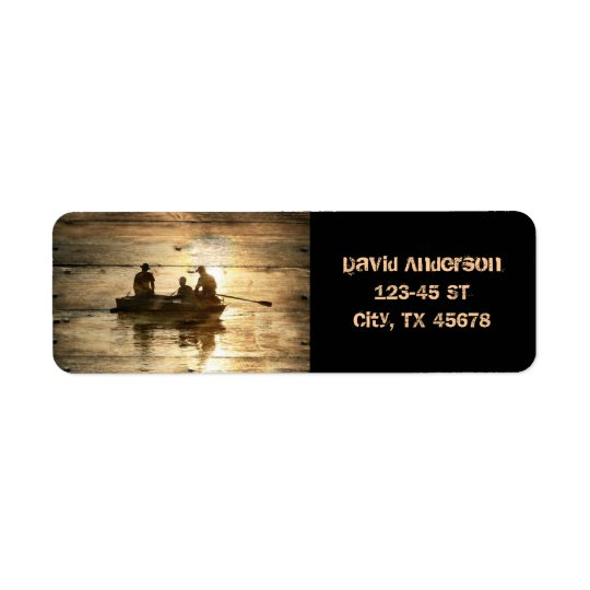Primitive country lake boat canoe fishing return address label