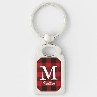 Primitive country lumberjack Red buffalo plaid Key Ring