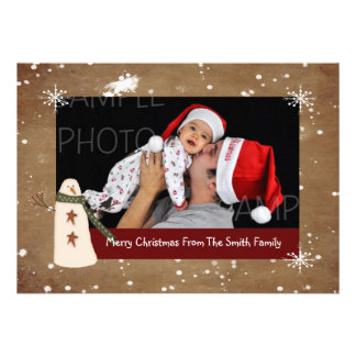 Primitive Country Snowman Photo Christmas Card
