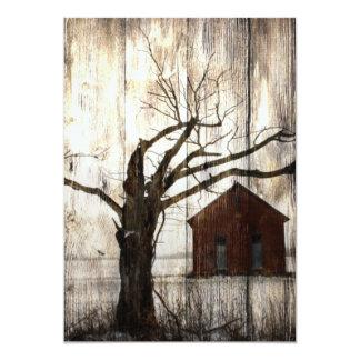 Primitive Country Woodgrain Winter Tree Red Barn Card