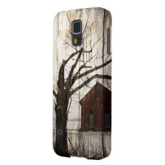 Primitive Country Woodgrain Winter Tree Red Barn Galaxy S5 Cover