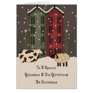 Primitive Cow Sheep Grandson Girlfriend Christmas Greeting Card