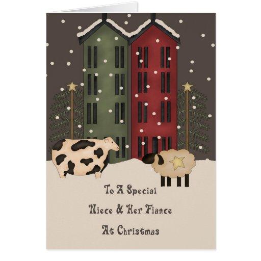 Primitive Cow Sheep Niece Fiance Christmas Cards