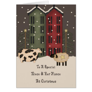 Primitive Cow Sheep Niece Fiance Christmas Greeting Card