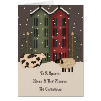 Primitive Cow Sheep Niece Fiancee Christmas Card