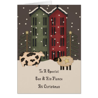 Primitive Cow Sheep Son & Fiance Christmas Greeting Card