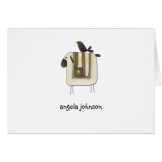 Primitive Crow and Sheep Personalized Note Cards