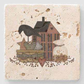 Primitive Crow Basket Salt Box House Stone Beverage Coaster