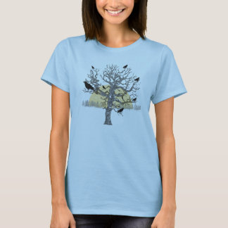 Primitive Crows Autumn Bare Tree Vintage Shirt