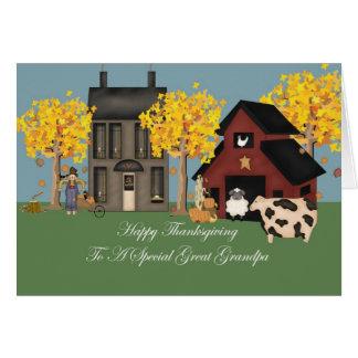 Primitive Farm Great Grandpa Thanksgiving Greeting Card