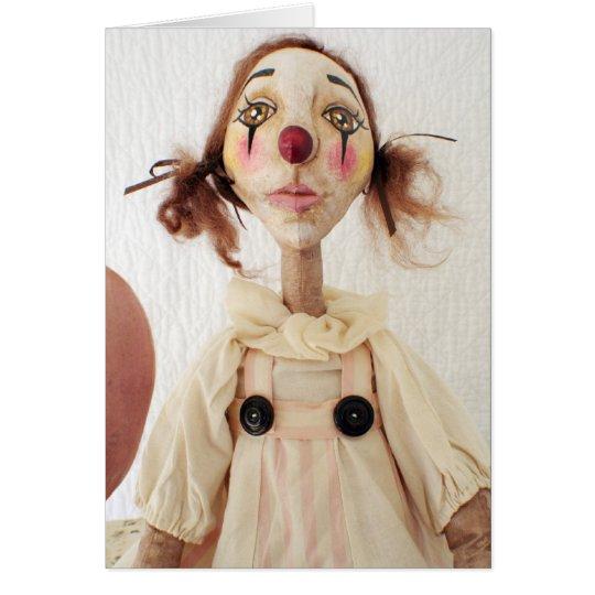 Primitive Folk Art Clown Birthday Card