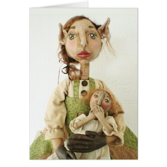 Primitive Folk Art Doll Christmas Card - Gwendolyn