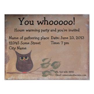 "Primitive Folk Art Owl Acrylic Painting 4.25"" X 5.5"" Invitation Card"