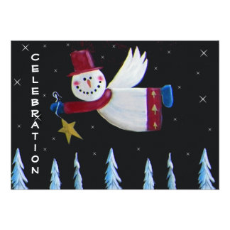 Primitive Folk Art Snowman Holiday Party Personalized Invitations