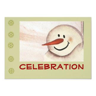 Primitive Folk Art Snowman Holiday Party Personalized Announcement