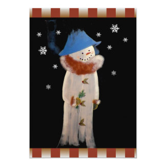Primitive Folk Art Snowman Holiday Party 5x7 Paper Invitation Card