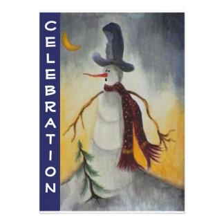 Primitive Folk Art Snowman Holiday Party Personalized Invitation