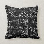 Primitive Geometric Squares Black Cushion