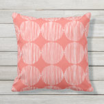 Primitive Geometric Squares Live Coral Cushion