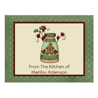 Primitive Gingerbread Man Candy Canes Recipe Cards Postcard
