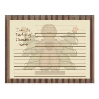 Primitive Gingerbread Man Recipe Cards