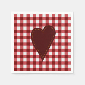 Primitive Heart on Red Gingham Disposable Serviette
