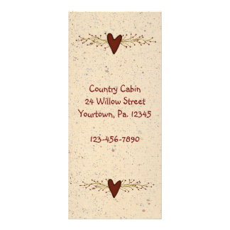 Primitive Heart Rack Card Book Mark