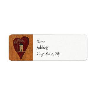 Primitive Heart Return Address Label