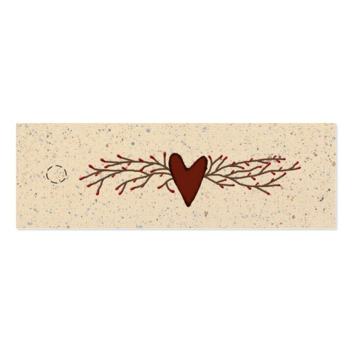Primitive Heart Skinny Hang Tag Business Card Templates