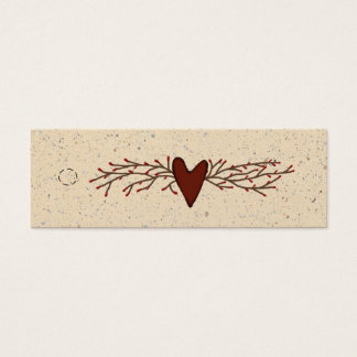 Primitive Heart Skinny Hang Tag Mini Business Card