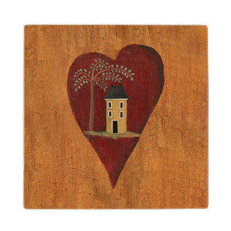 Primitive Heart Wood Coaster