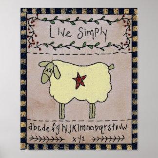 Primitive LIVE SIMPLY & Alphabet Wall Decor Poster