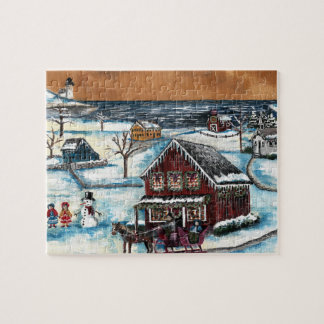 Primitive New England Christmas Jigsaw Puzzle
