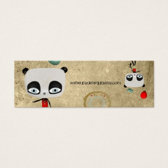 Primitive Panda bear bird fairy happy birthday Mini Business Card