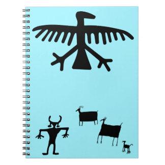 Primitive Petroglyph Tribal Deer Dance Spiral Notebook