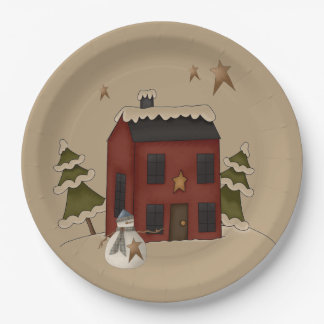 Primitive Red Colonial With Snowman 9 Inch Paper Plate