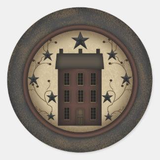 Primitive Red Saltbox House round sticker