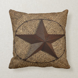 Primitive rustic burlap western country texas star cushion