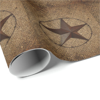 Primitive rustic burlap western country texas star wrapping paper