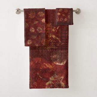 Primitive Rustic Fall Leaves and Gingham Burgundy Bath Towel Set