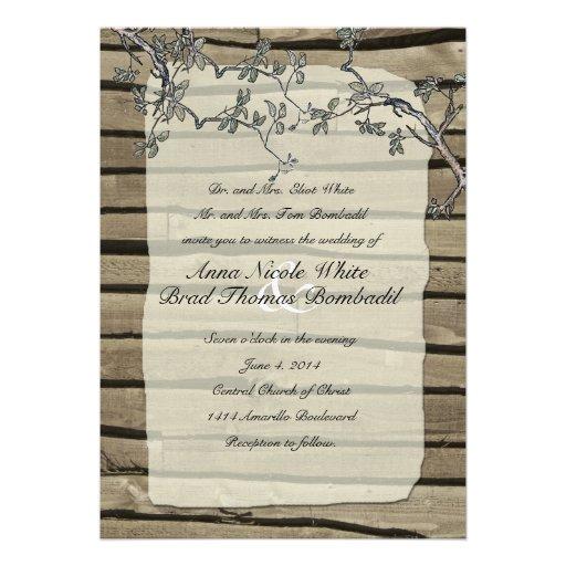 Primitive Rustic Wood Wedding Invitation