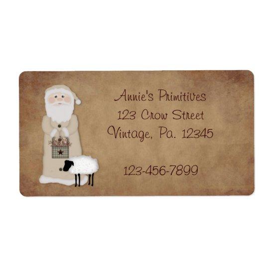 Primitive Santa Label