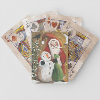 Primitive Snowman and Santa Claus Poker Deck